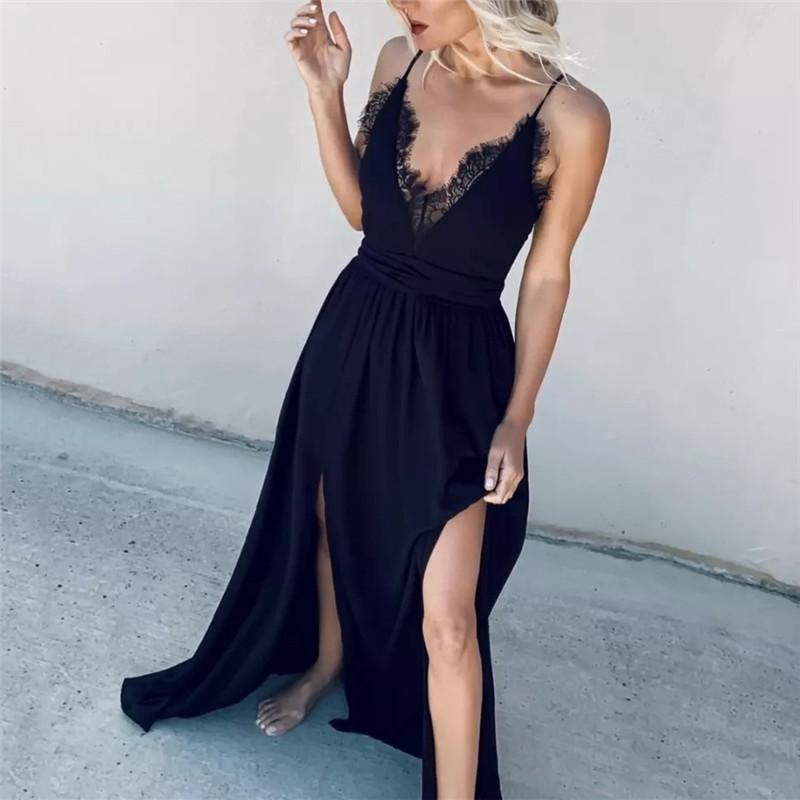 Sexy Sling Feather High Open Sleeveless Dresses