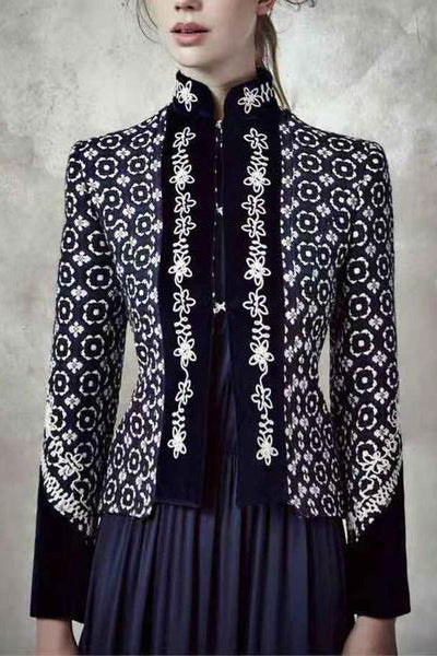 European And American Style Stand Collar Long Sleeve Printed Colour Jacket