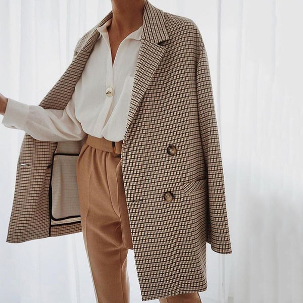 Classic Plaid Print Slit Pockets Buttons Midi Coat