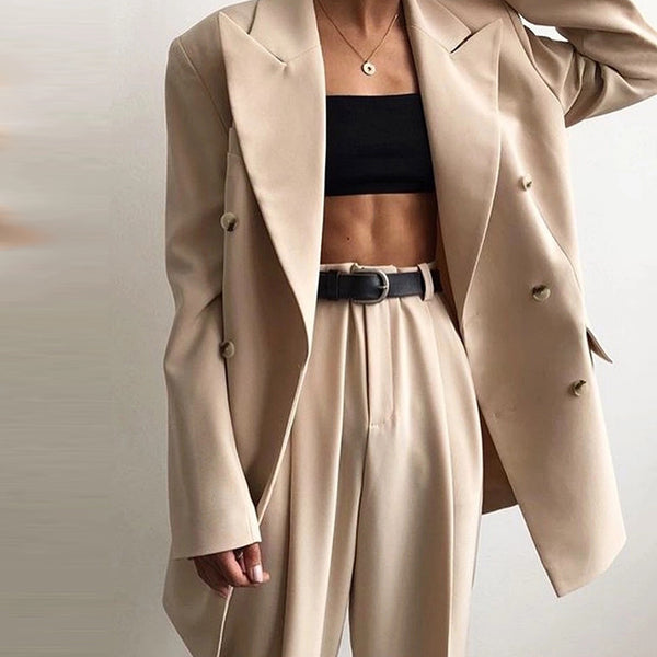Formal Folded Collar Solid Color Double-Breasted Pocket Ladies Suit