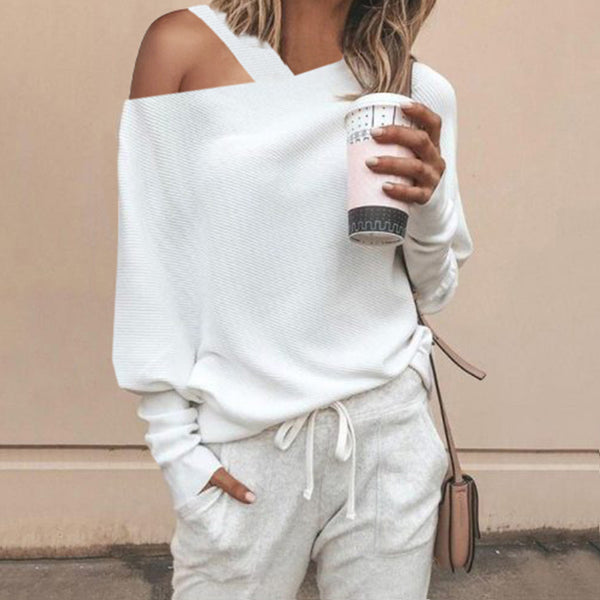 Fashion Sexy Shoulder Out Puff Sleeves Knit Blouse
