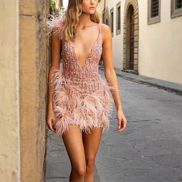 Elegant Halter Deep V Neck Tassel Mini Dress