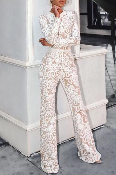 European And American Style Long Sleeve Lace Round Neck Jumpsuit