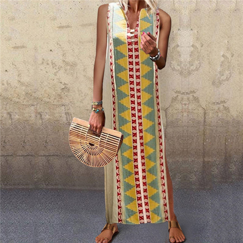 Beach V Neck Sleeveless Printed Color Dress