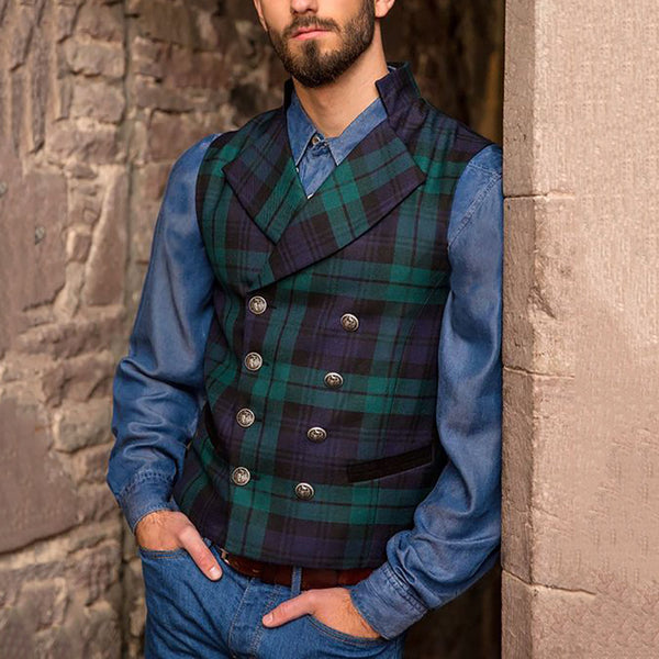 Casual Plaid Double Breasted Vest