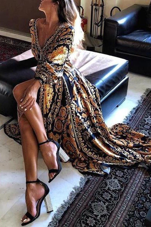 Long Sleeve V-Neck Print  Maxi Evening Dress