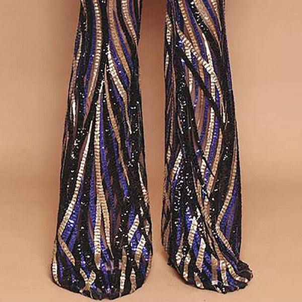 Striped sequined horn nightclub high waist trousers