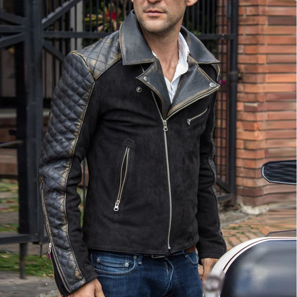 Men's locomotive wind faux leather lapel long sleeve jacket