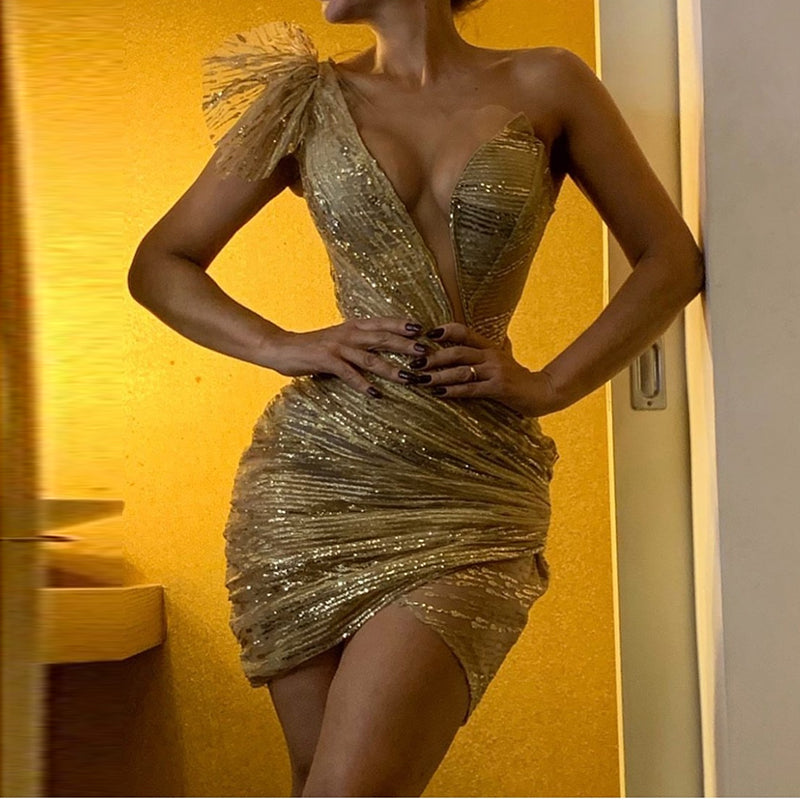 Sexy Deep V Gold Irregular Pleated Slim Evening Gowns