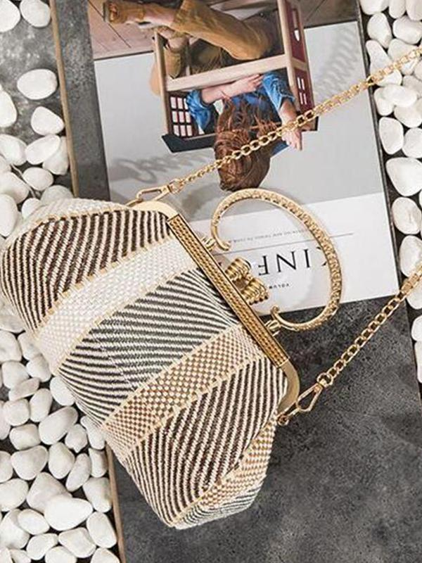 Fashion Elegant Strip Shell Shape Chain One Shoulder Hand Bag