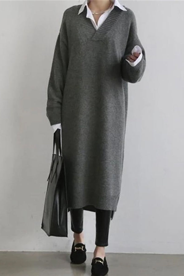 Fashion Simple Loose Long Sleeves Knitted Sweater Shown Thin Maxi Sweater Dress