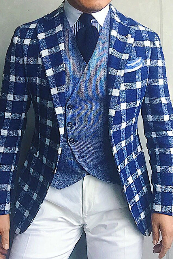 Classic Plaid Long Sleeves Suit Collar Fitted Blazer