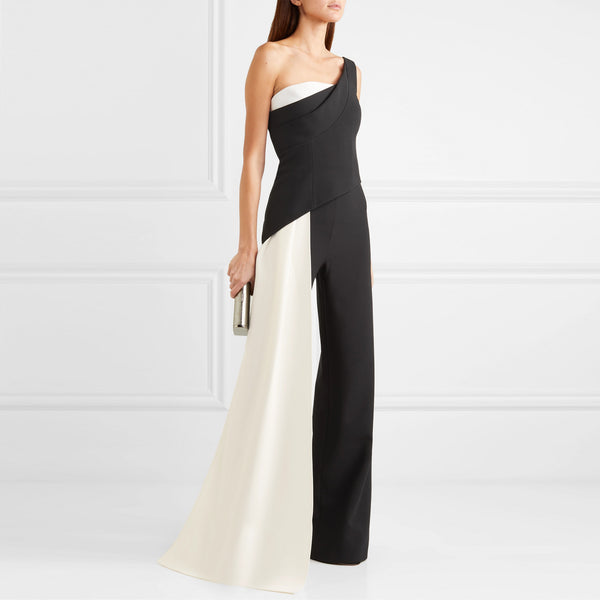 Modern Sloping Shoulder Sleeveless jumpsuit