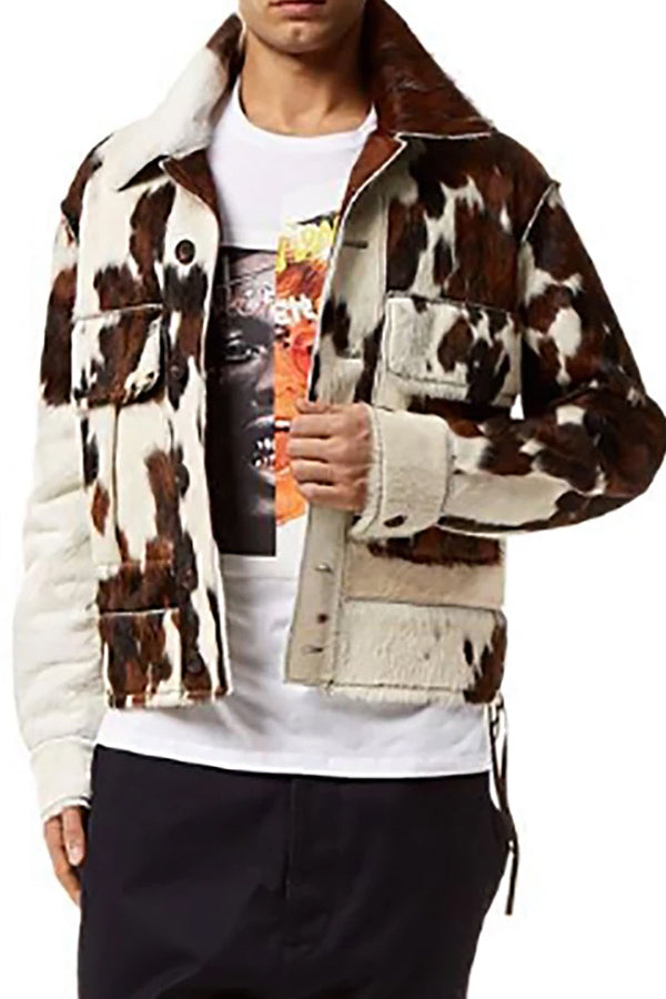 Fashion Leopard Print Fold Over Collar Single-Breasted Coat