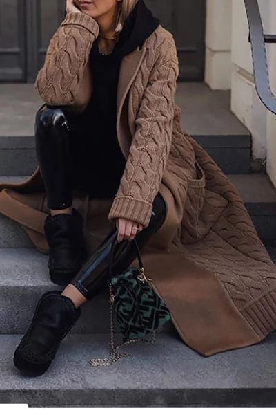 Fashion Pure Colour Splicing Long Sleeve Overcoat