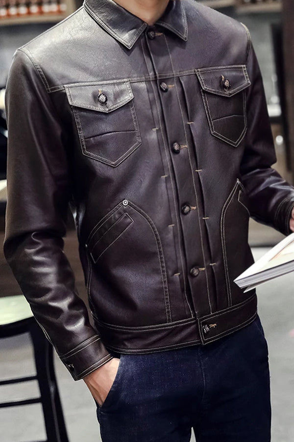 Leather jacket multi-pocket slim PU leather