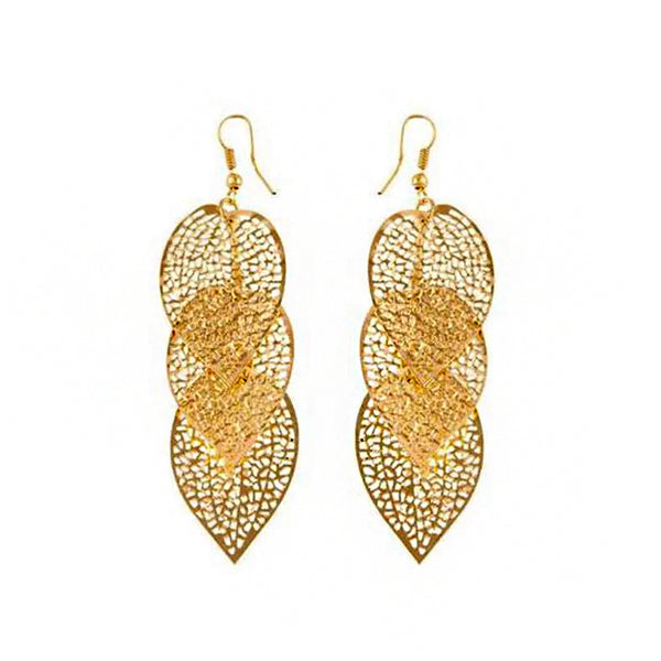 Gold Hollow Out Metal Leaf Earrings