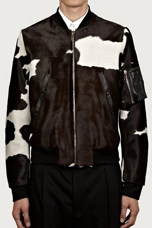 Men's Fashion Stand Collar Printed Color Metal Zipper Jacket