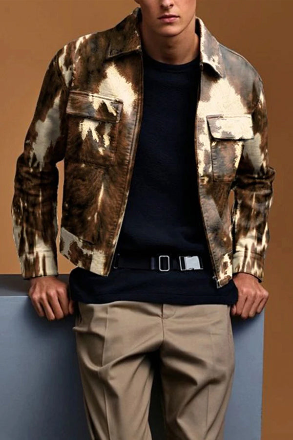 Men's Vintage Long Sleeve Printed Color Leather Coat