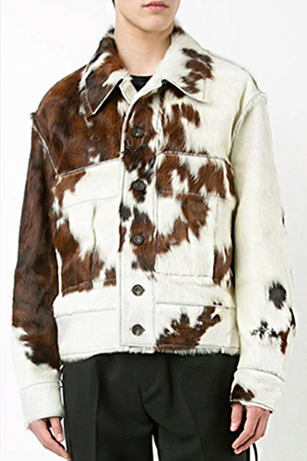 Men's Fashion Printed Color Single-breasted Plush Coat