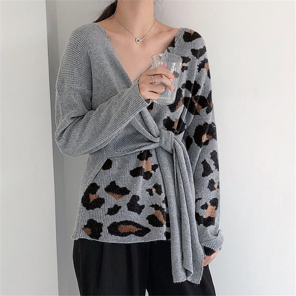 Fashion Leopard Colorblock Sweater