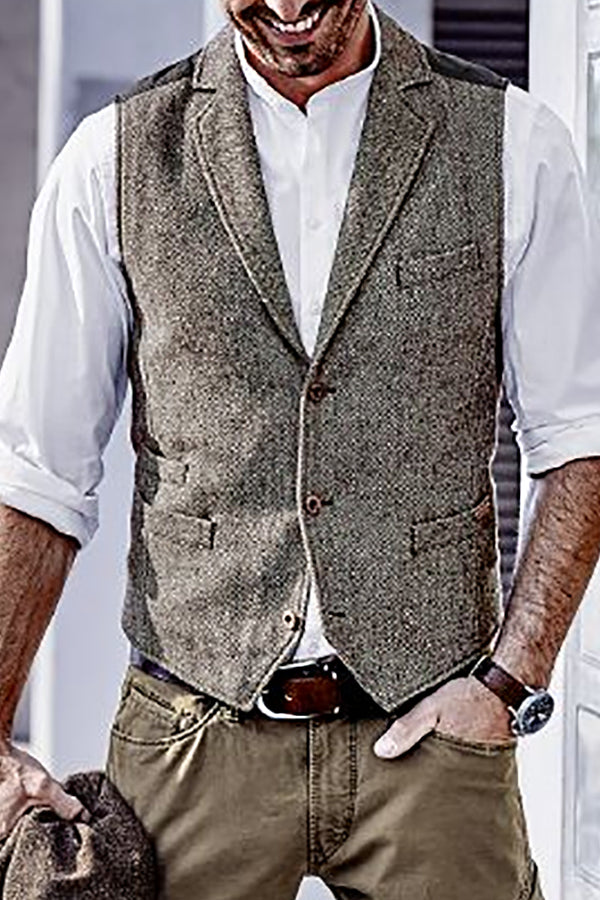 Mens Casual Colorblock Single-breasted Vest