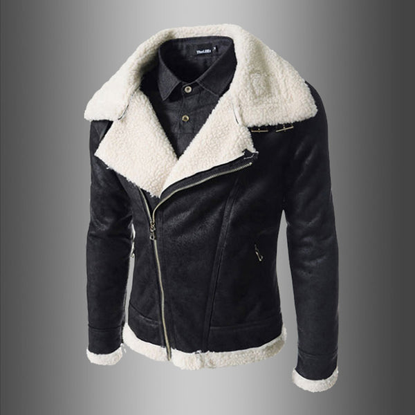 Lamb velvet slim collar leather jacket