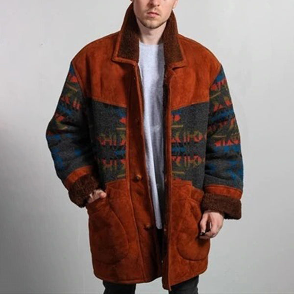 Men's Fashion Single-breasted Printed Color Splicing Plush Jacket