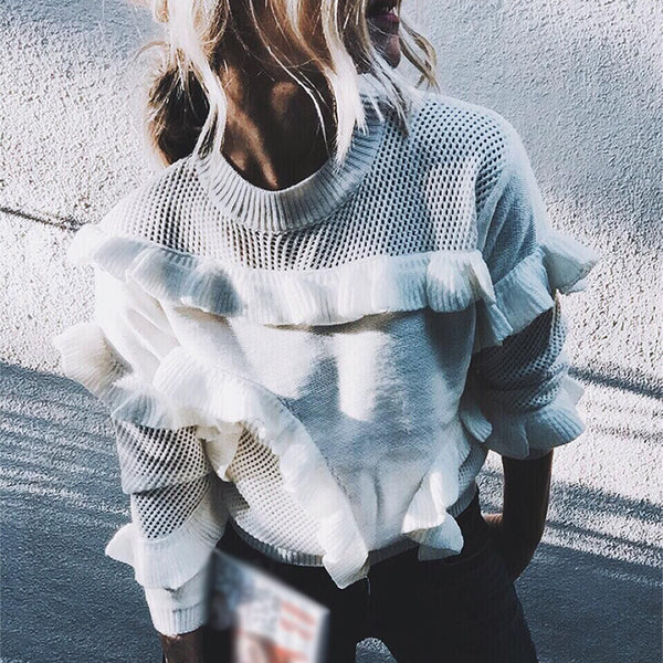 Women's loose round neck ruffled stitching Sweater Blouse