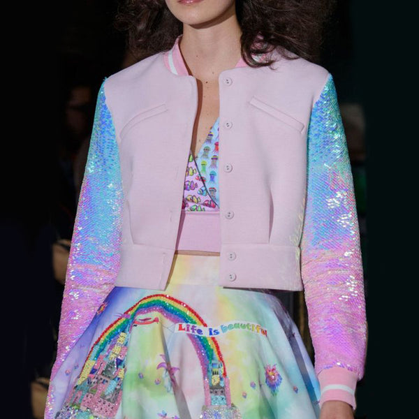 Fashion Gradient Sequin Short Jacket