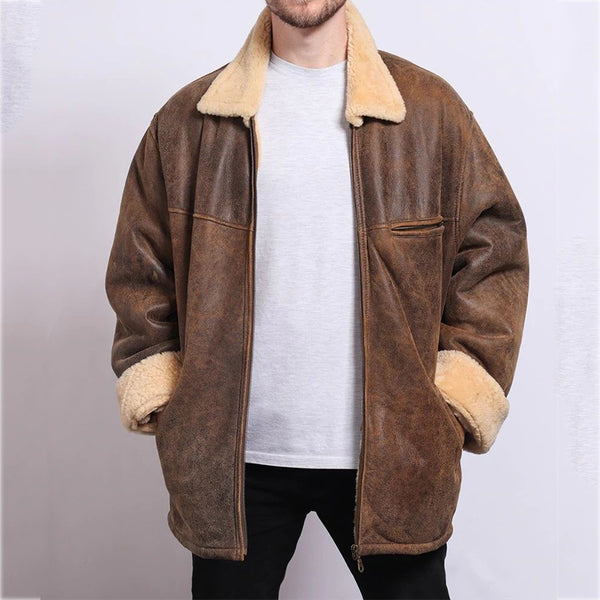 Trucker Jacket with Borg Collar in Brown