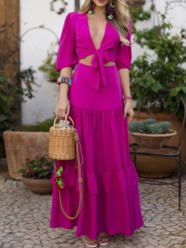 Sexy Belted Pure Colour Wrap Chest Vacation Dresses