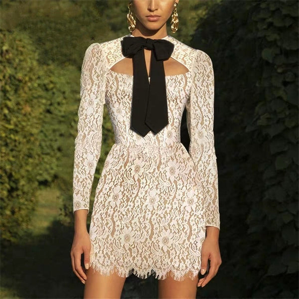 Fashion Hollow Bow Long Sleeve Slim Fit Lace Mini Dress