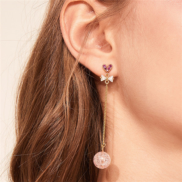 Fashion Simple Love Bow Crystal Ball Pendant Earrings