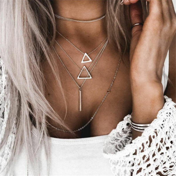 Triangle pendant multi-layer necklace