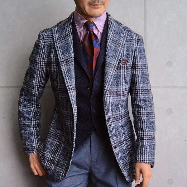 Classic Check Long Sleeves Gray Pockets Fitted Blazer