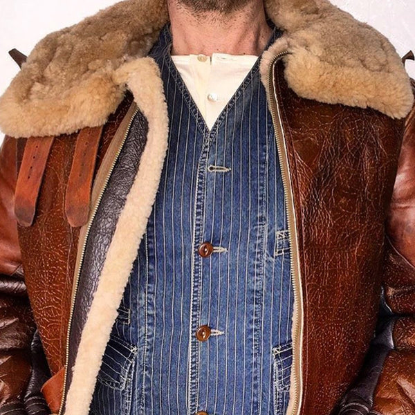 Vintage Folded Fur Collar Solid Color Men's Jacket