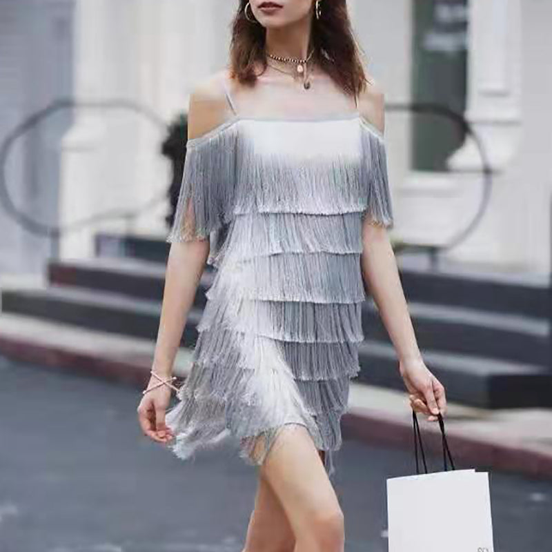 Sexy sling fringe solid color sleeveless dress