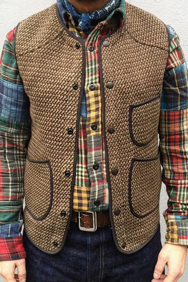 Autumn And Winter Single-Breasted Knit Vest