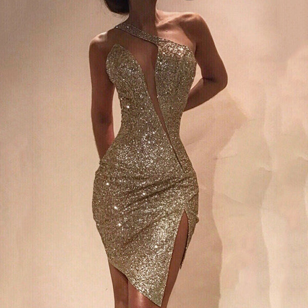 Sexy gold irregular tight split evening gowns