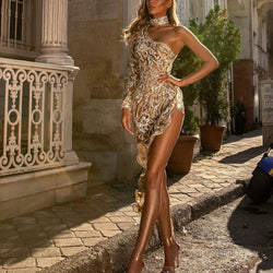 Side Slit Sequin Party Evening Dress
