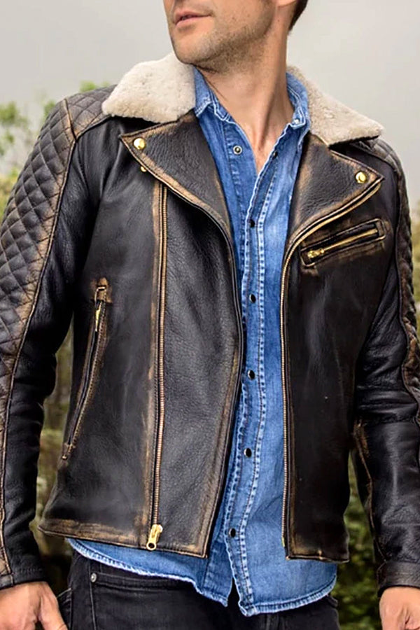 Men's locomotive wind leather lapels jacket