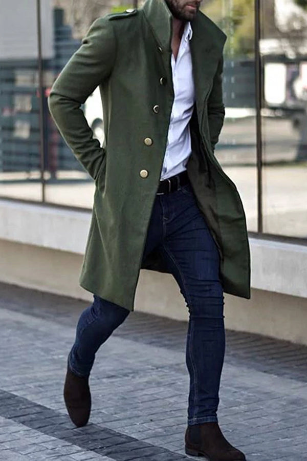 Men's Fashion Green Single Breasted Coat