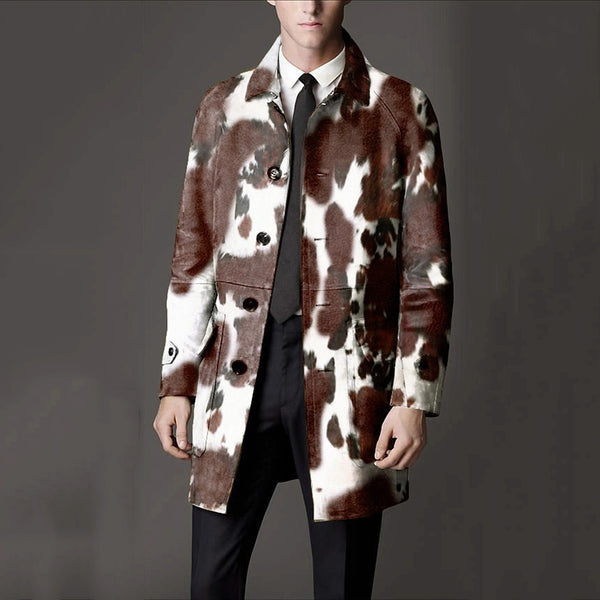 Men's Casual Single-breasted Printed Color Slim Overcoat