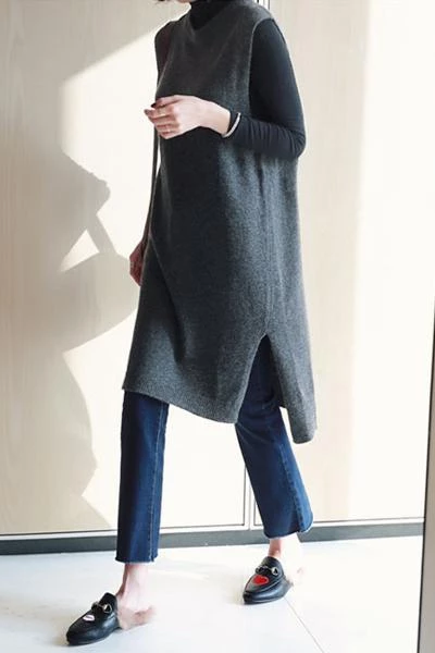 Fashion Sleeveless Pure Colour Loose Knitted Sweater Vest Dress
