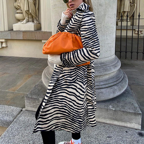 Fashion Zebra Printed Long Sleeve Coat