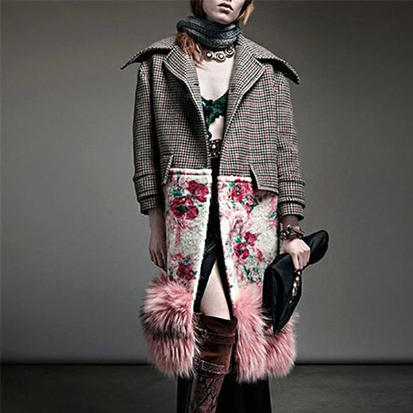 Fashion Lapel Plaid Floral Print Faux Fur Splicing Coat
