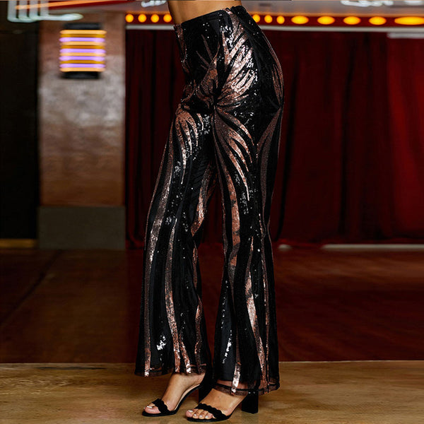 Sequined high waist slim long pants