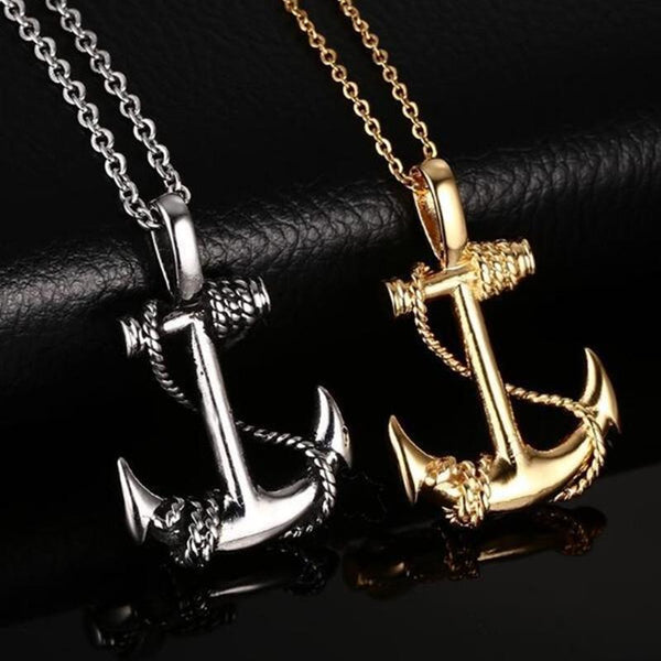 Caribbean Pirate Anchor Vintage Stainless Steel Necklace