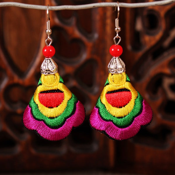 Fashion Vintage Ethnic Style Embroidered Tassel Earrings
